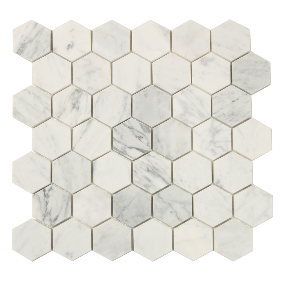 Mosaic White Marble Hexagon 30 X